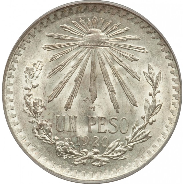 1920-1945 Silver Mexican 1 Peso Cap and Rays Avg Circ (ASW .3856 oz)