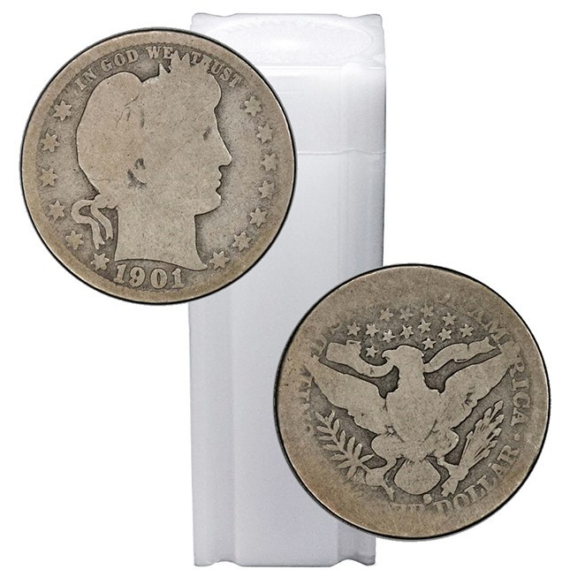 Tube of 90% SIlver Barber Quarters - $10 Face Value
