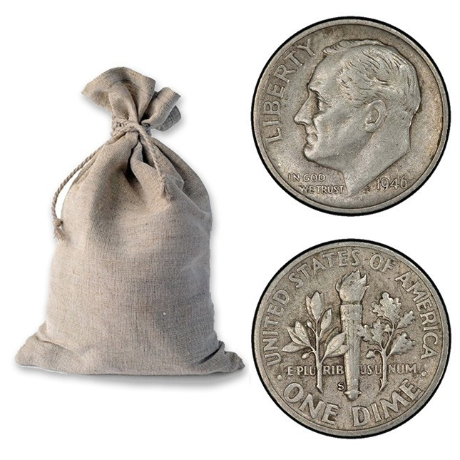 Bag of 90% Silver Roosevelt Dimes - $100 Face Value