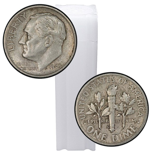 Roll/Tube of 90% Silver Roosevelt Dimes - $5 Face Value