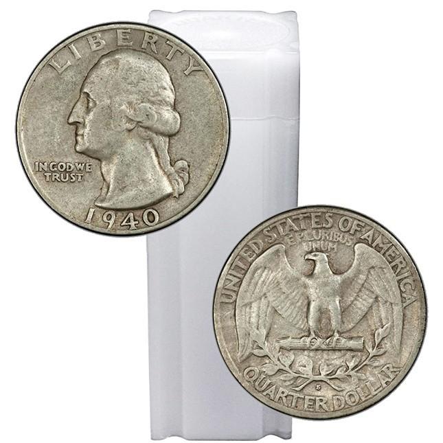 Tube of 90% Silver Washington Quarters - $10 Face Value