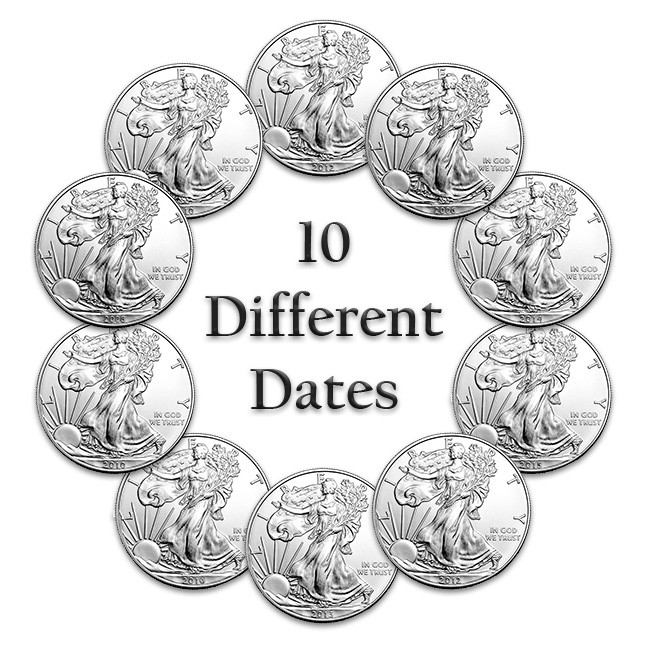 Ten (10) Different American Silver Eagle Dates