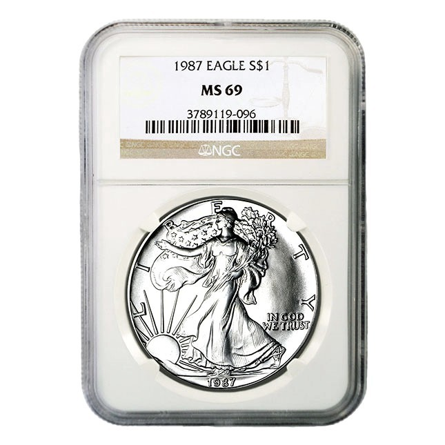 1987 1 Oz American Silver Eagle NGC MS69 Obverse