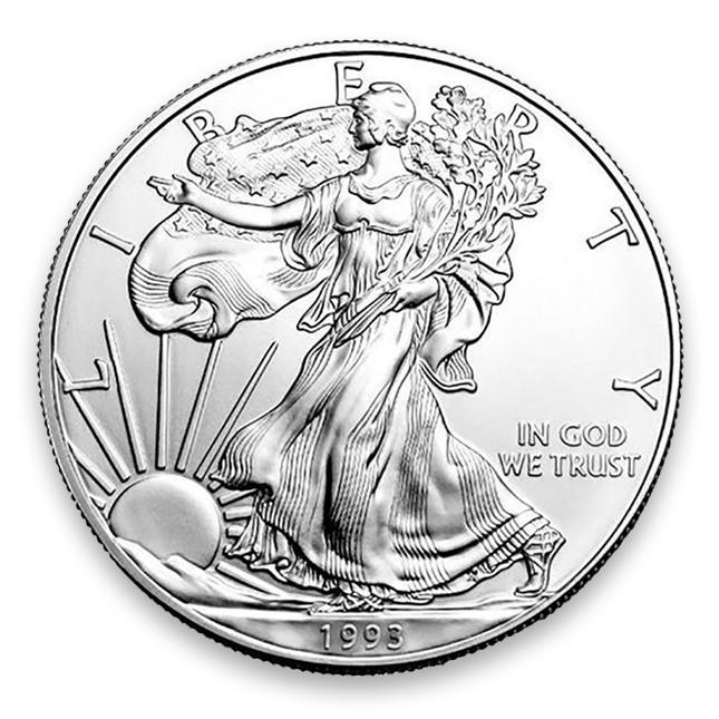 1993 1 Oz American Silver Eagle Brilliant Uncirculated (BU) Obverse