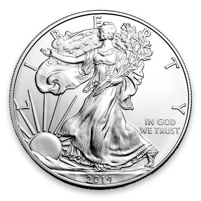 2014 1 Oz American Silver Eagle Brilliant Uncirculated (BU) Obverse
