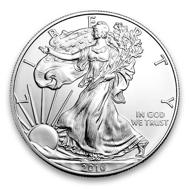 2016 American 1 Oz .999 Fine Silver Eagle Obverse