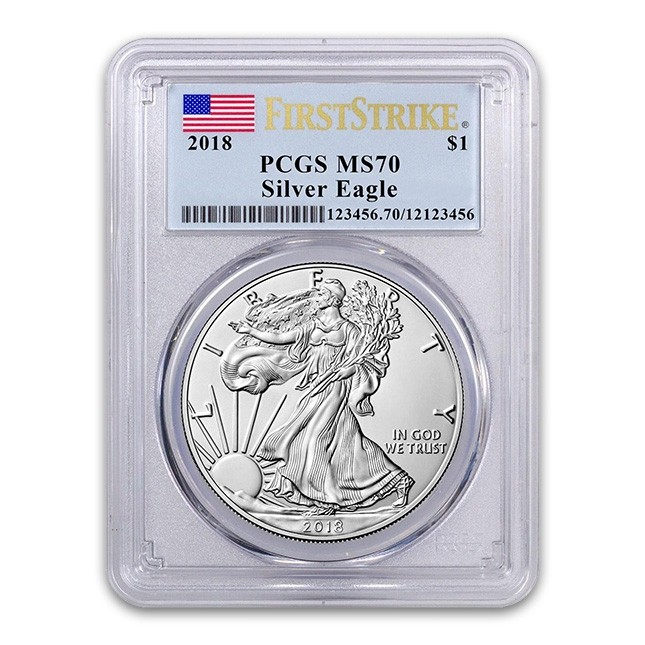 2018 American Silver Eagle PCGS MS70 First Strike Flag Label