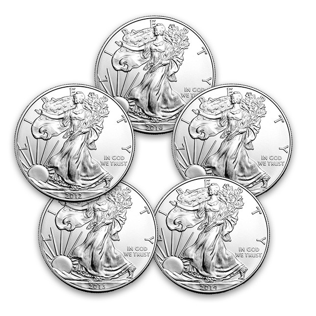 Five (5) Different American Silver Eagle Dates