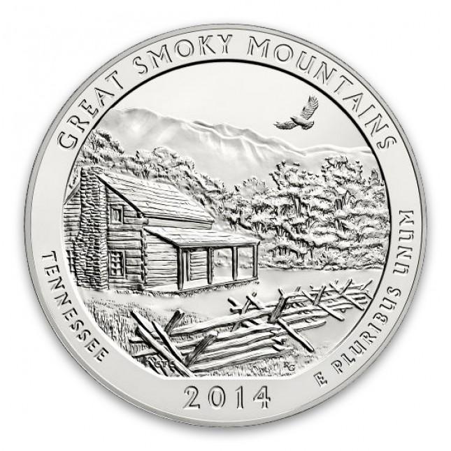 2014 Great Smoky Mountains 5 Oz Silver ATB Coin (BU)