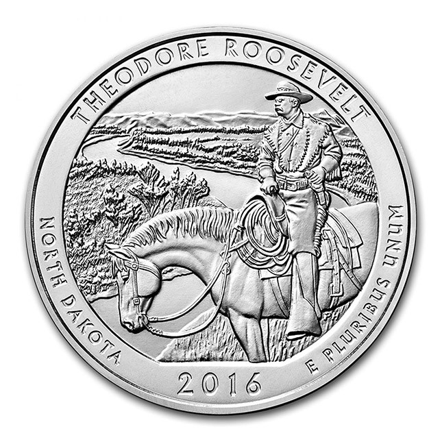 2016 Theodore Roosevelt 5 Oz .999 Fine Silver ATB Coin