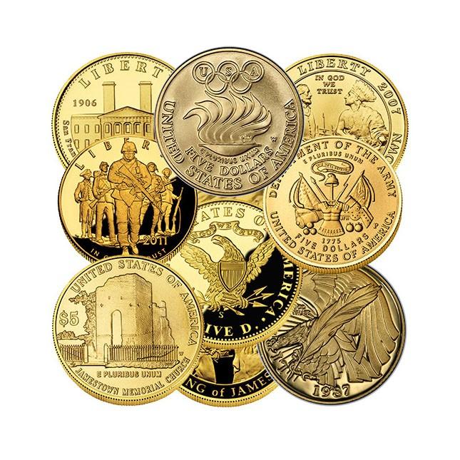 U.S. $5 Gold Commemorative (Random Year, In Capsule)