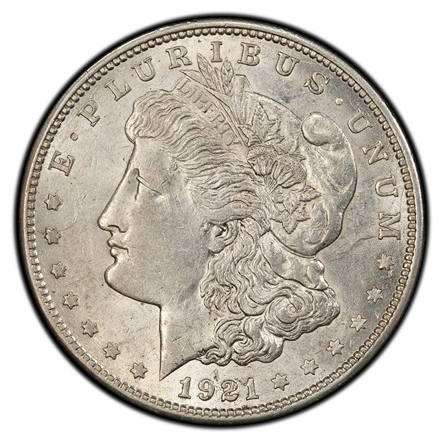 1921 Morgan Silver Dollar About Uncirculated (AU) Obverse