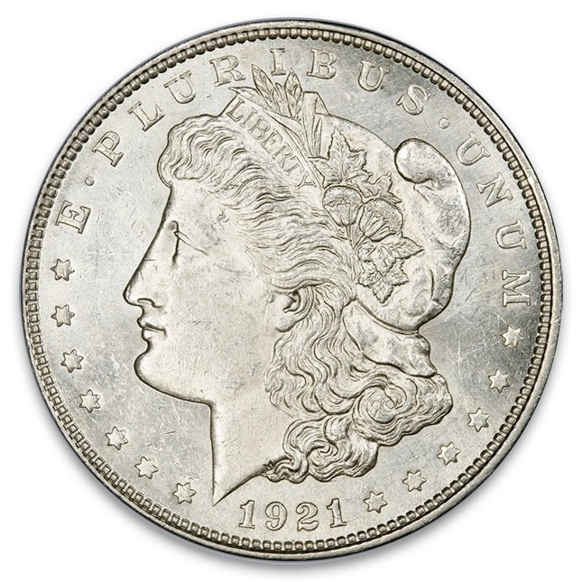 1921 Morgan Silver Dollar Coin BU (Brilliant Uncirculated) Obverse