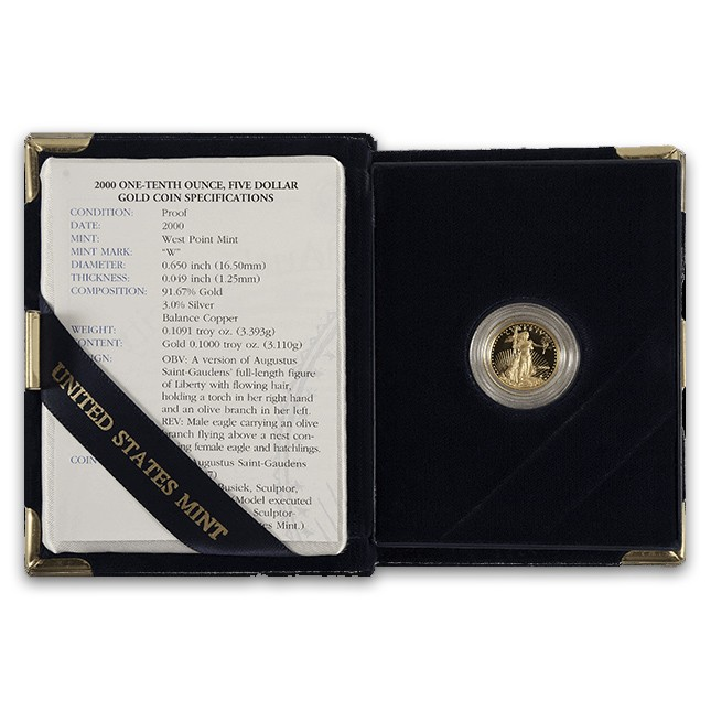 1/10 Oz American Proof Gold Eagle (Random Year, w/OGP)