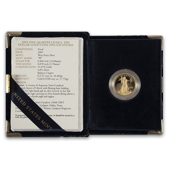 1/4 Oz American Proof Gold Eagle (Random Year, w/OGP)