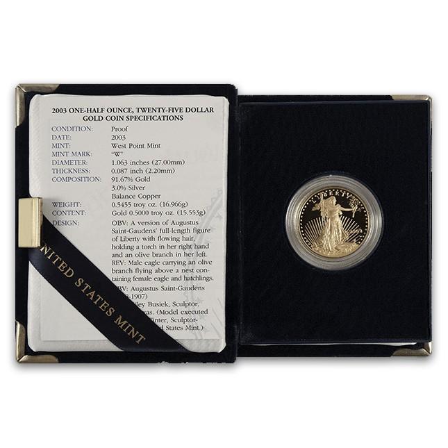 1/2 Oz American Proof Gold Eagle (Random Year, w/OGP)