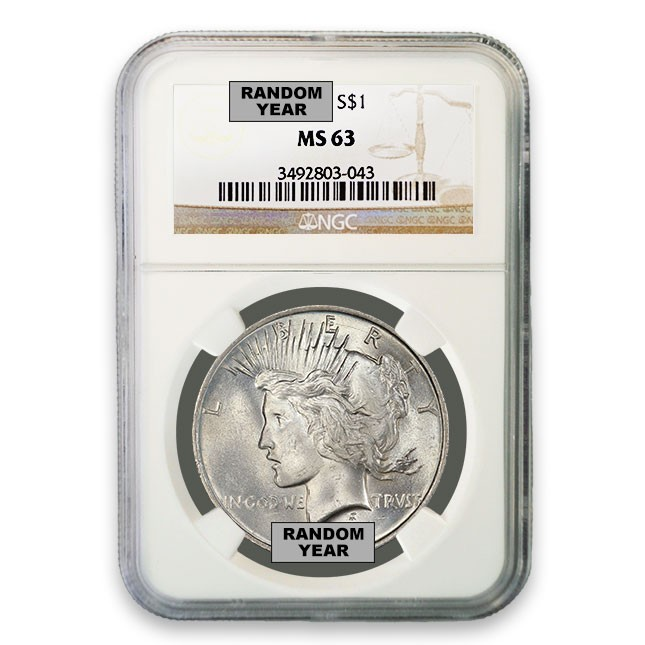 Silver Peace Dollar NGC MS63 (Random)