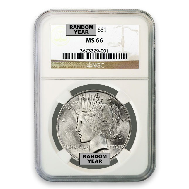 1922-1925 Random Date Silver Peace Dollar NGC MS66