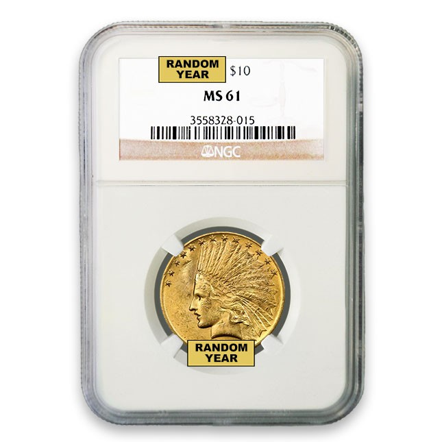 $10 Indian Gold Eagle NGC MS61 (Random)