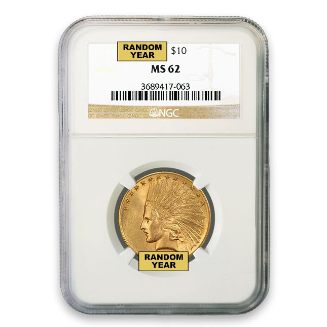 $10 Indian Gold Eagle NGC MS62 (Random)