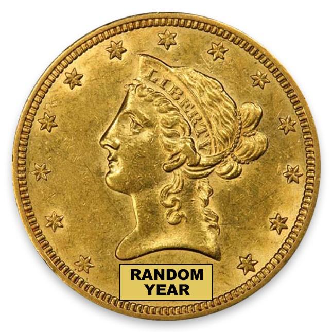 1838-1907 Random Date $10 Liberty Eagle About Uncirculated (AU) Obverse