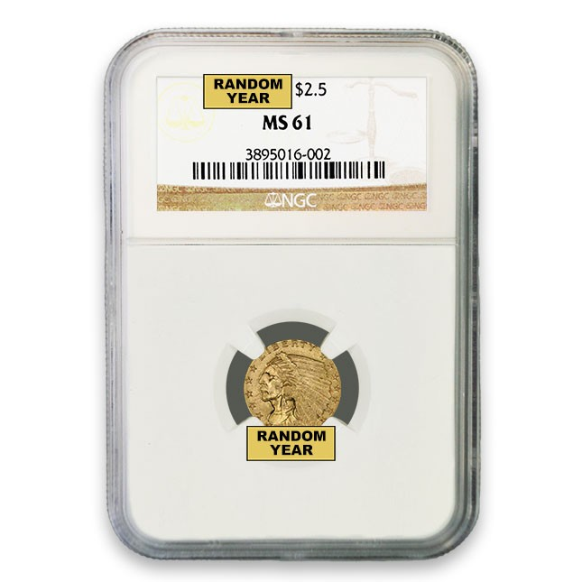 $2.50 Indian Gold Quarter Eagle NGC MS61 (Random)