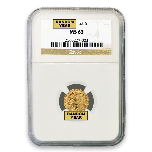 $2.50 Indian Gold Quarter Eagle NGC MS63