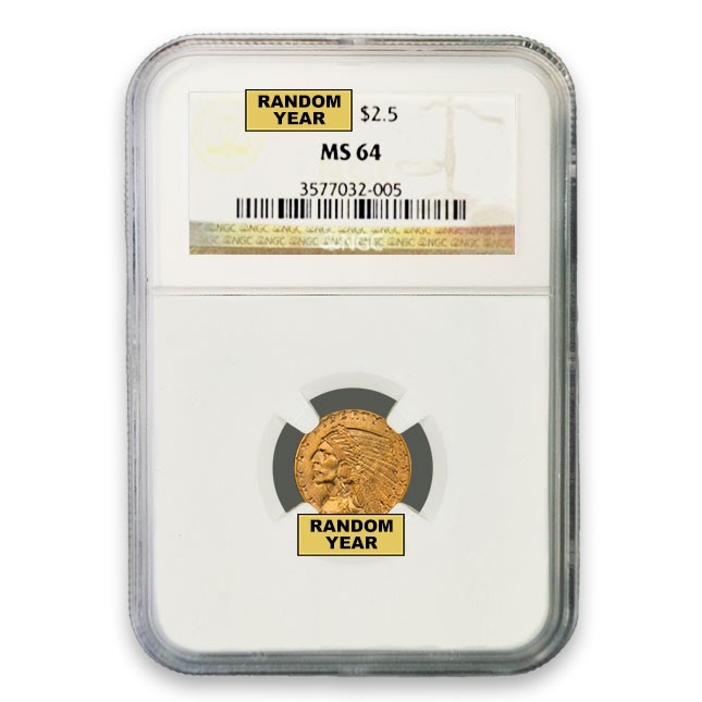 $2.50 Indian Gold Quarter Eagle NGC MS64 (Random)