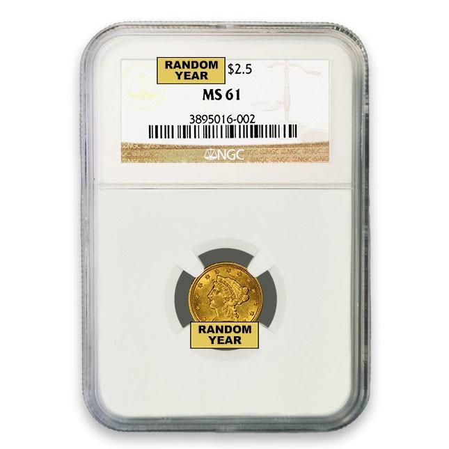 $2.50 Liberty Quarter Eagle NGC MS61 (Random)