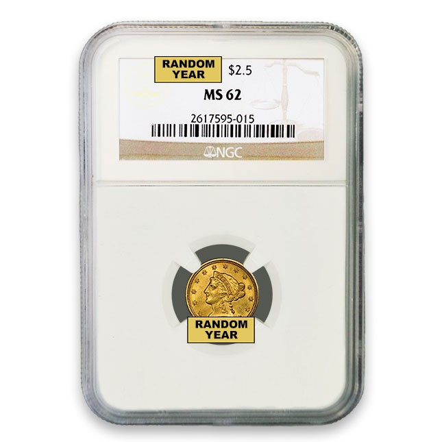 $2.50 Liberty Quarter Eagle NGC MS62 (Random)