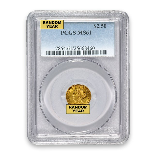 $2.50 Liberty Quarter Eagle PCGS MS61 (Random)