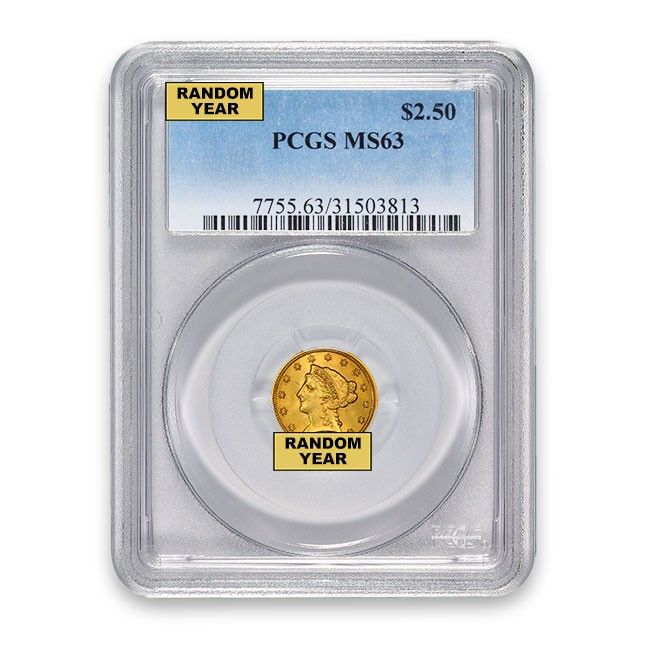 $2.50 Liberty Quarter Eagle PCGS MS63 (Random)