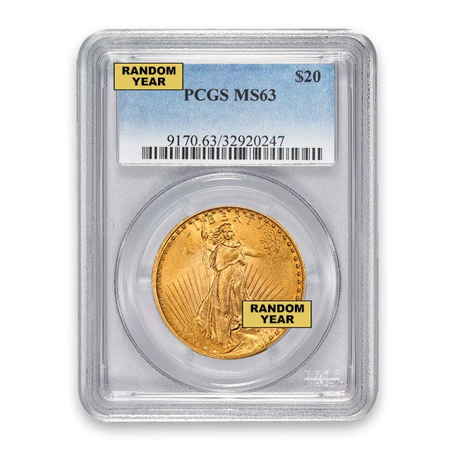 $20 Gold Saint-Gaudens Double Eagle PCGS MS63 Obverse