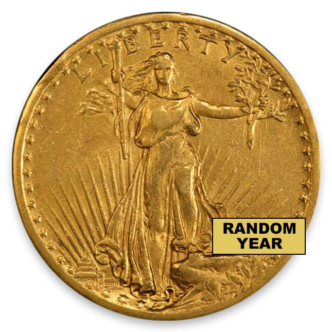 1907-1933 Random Date $20 Saint Gaudens Gold Double Eagle Extremely Fine (XF) Obverse