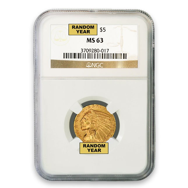 $5 Indian Gold Half Eagle NGC MS63 (Random)