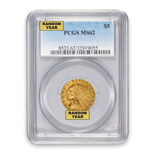 $5 Indian Gold Half Eagle PCGS MS62 (Random)