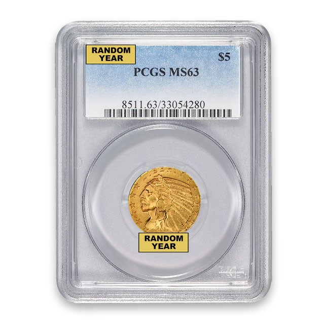 $5 Indian Gold Half Eagle PCGS MS63 (Random)