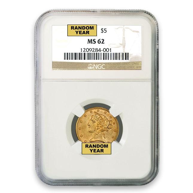 $5 Liberty Gold Half Eagle NGC MS62 (Random)
