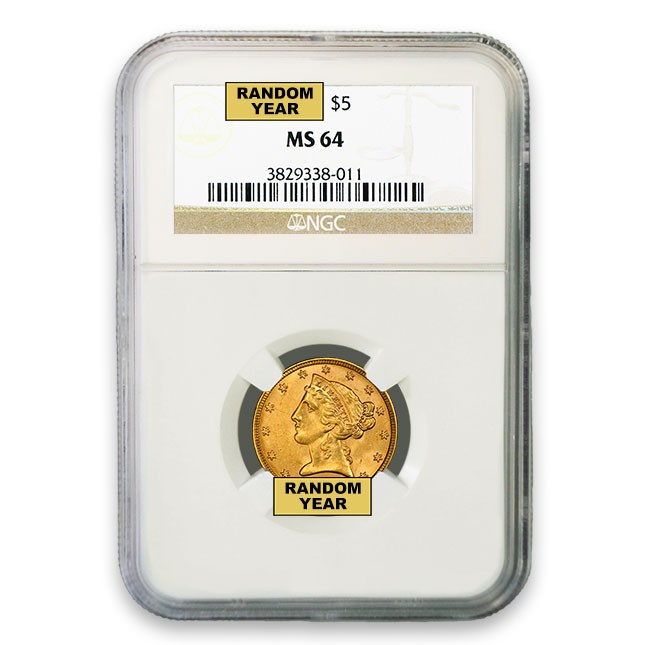 $5 Liberty Gold Half Eagle NGC MS64 Obverse