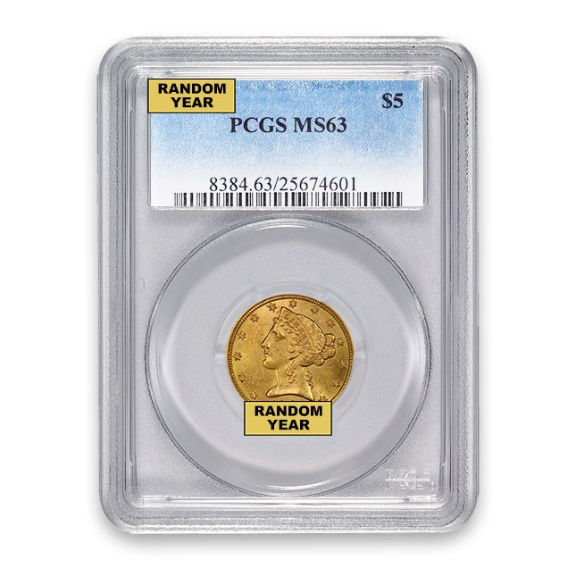 $5 Liberty Gold Half Eagle PCGS MS63 Obverse