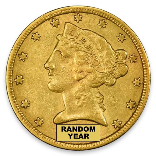 1866-1908 Random Date $5 LIberty Half Eagle Extra FIne (XF)