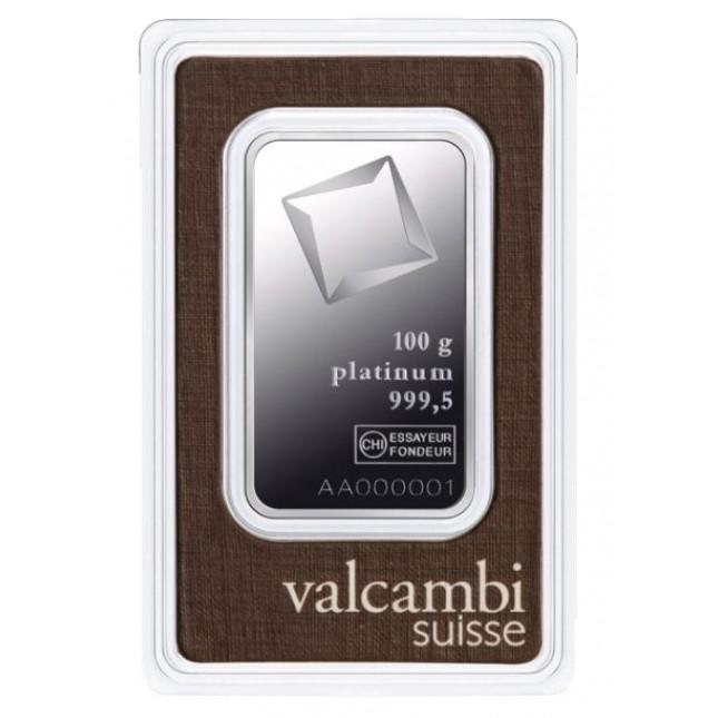 Valcambi 100 Gram Platinum Bar (In Assay)