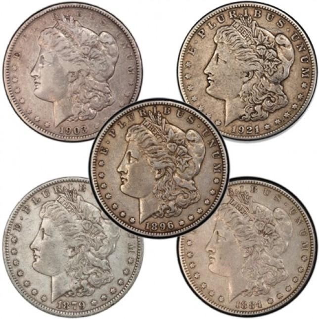 VG Morgan Silver Dollar 5 Coin Decade Set