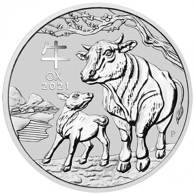 2021 Australia 2 Oz Silver Lunar Ox Coin (BU)