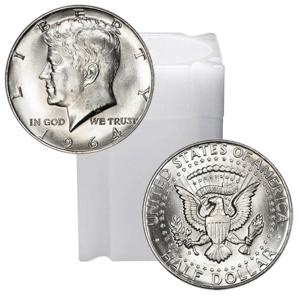 Buy Tube of 90% Silver 1964 Kennedy Half Dollars Brilliant ...