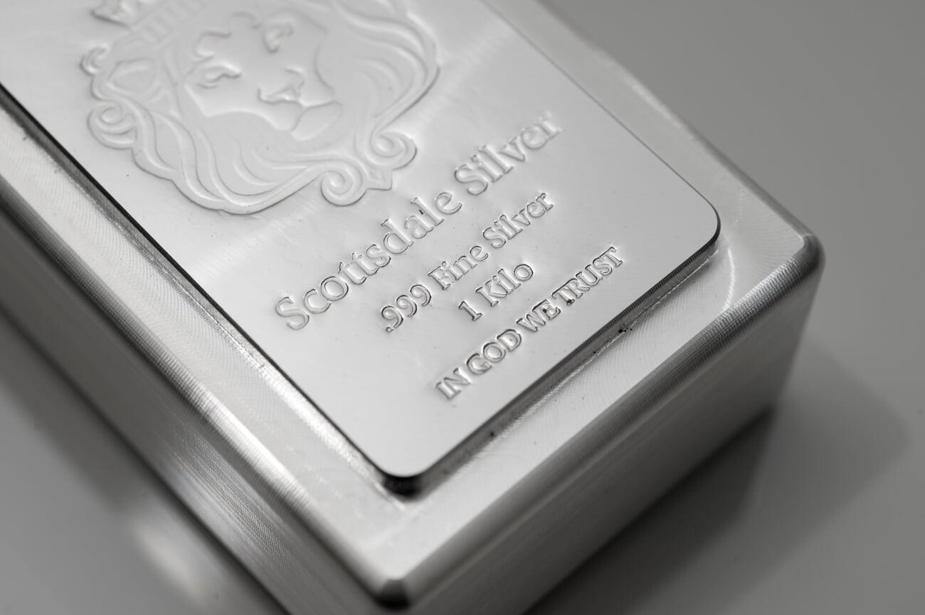 Buy The Scottsdale Mint 1 Kilo Silver Stacker Bar