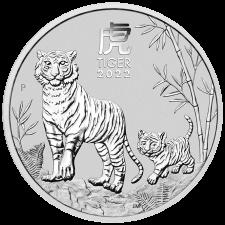 2022 Australia 2 Oz Silver Lunar Tiger Coin (BU)