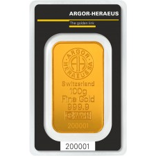 100 Gram Argor-Heraeus Gold Bar (In Assay)