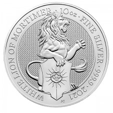 2021 UK 10 Oz Silver The White Lion of Mortimer BU (Queen's Beasts Series)