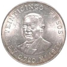 1972 Mexican 25 Pesos Silver Juarez Avg Circ (ASW .5208 oz)
